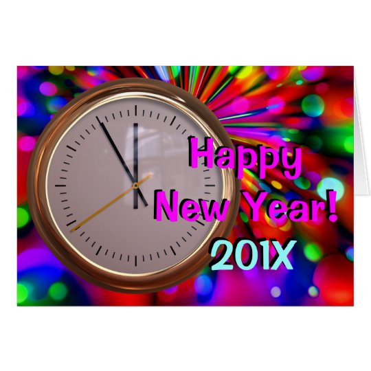 Happy New Year Fireworks & Clock Greeting Cards