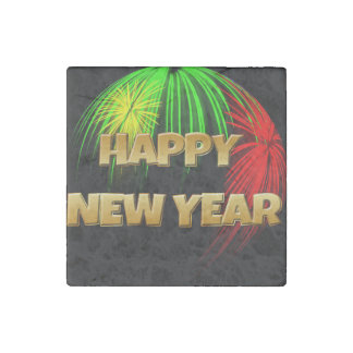 Happy New Year Fireworks Stone Magnet