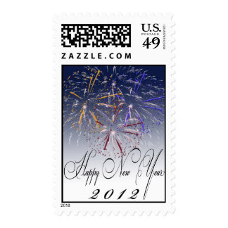 Happy New Year Fireworks Postage Stamps