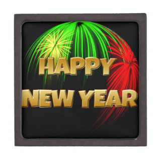 Happy New Year Fireworks Premium Trinket Boxes