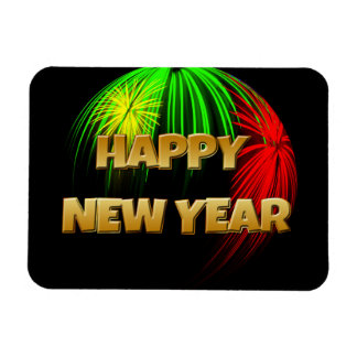 Happy New Year Fireworks Rectangle Magnets