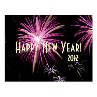 Happy New Year Fireworks Purple Calendar  Postcard