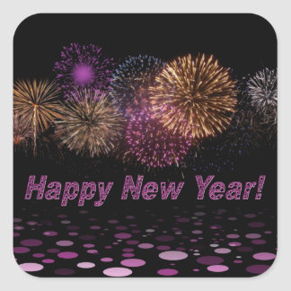 Happy new Year - fireworks Square Sticker