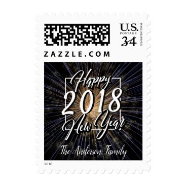 Professional Business HAPPY NEW YEAR FIREWORKS STARBURST POSTCARD POSTAGE