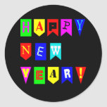 Happy New Year Flags Classic Round Sticker