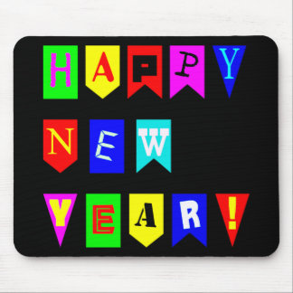 Happy New Year Flags Mouse Pad