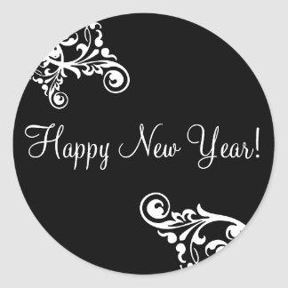 Happy New Year Flourish Envelope Sticker Seal