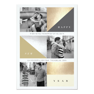 Happy New Year Foil Blocks Chic Holiday Photo Card