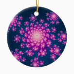 Happy New Year Fractal Ceramic Ornament