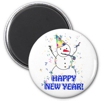 Happy New Year from the Celebrating Snowman 2 Inch Round Magnet