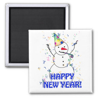Happy New Year from the Celebrating Snowman 2 Inch Square Magnet