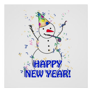 Happy New Year from the Celebrating Snowman Poster
