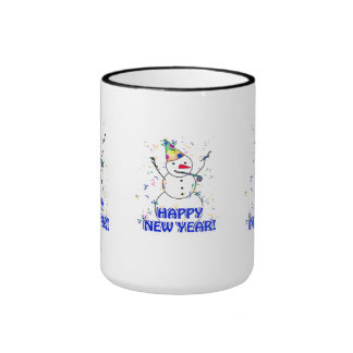 Happy New Year from the Celebrating Snowman Ringer Coffee Mug