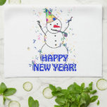 Happy New Year from the Celebrating Snowman Towel