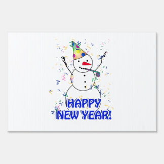 Happy New Year from the Celebrating Snowman Yard Signs