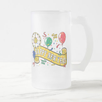 Happy New Year Frosted Glass Beer Mug