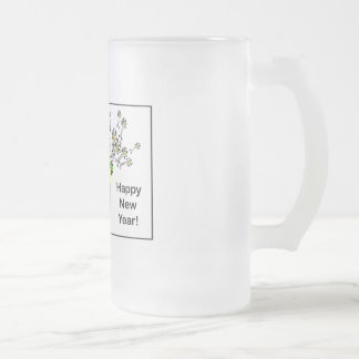 Happy New Year! Frosted Glass Beer Mug