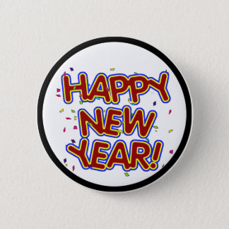Happy New Year - Fun Red Text With Confetti Button