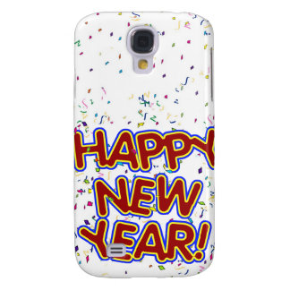 Happy New Year - Fun Red Text With Confetti Samsung Galaxy S4 Case