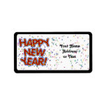 Happy New Year - Fun Red Text With Confetti Custom Address Label