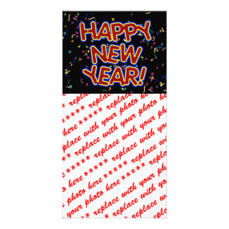 Happy New Year - Fun Red Text With Confetti Photo Card Template