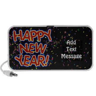 Happy New Year - Fun Red Text With Confetti iPod Speakers