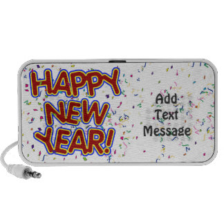 Happy New Year - Fun Red Text With Confetti Travel Speaker
