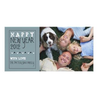 Happy New Year Fun Sketch Blue Black White Card