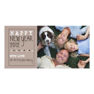 Happy New Year Fun Sketch Tan Black White Card