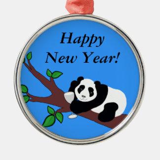 Happy New Year Funny Wine Drinking Panda Bear Metal Ornament