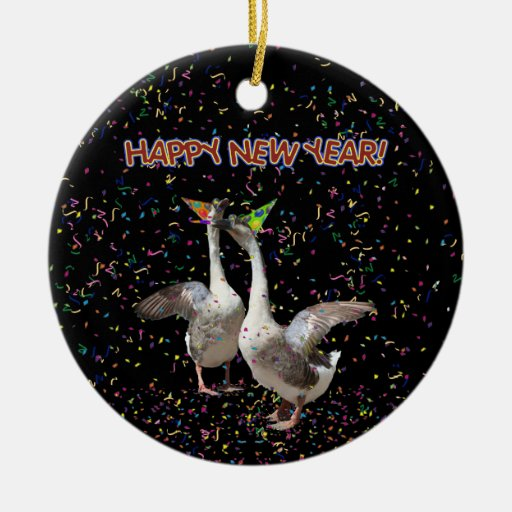 Happy New Year Geese Christmas Tree Ornaments