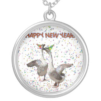 Happy New Year Geese Personalized Necklace