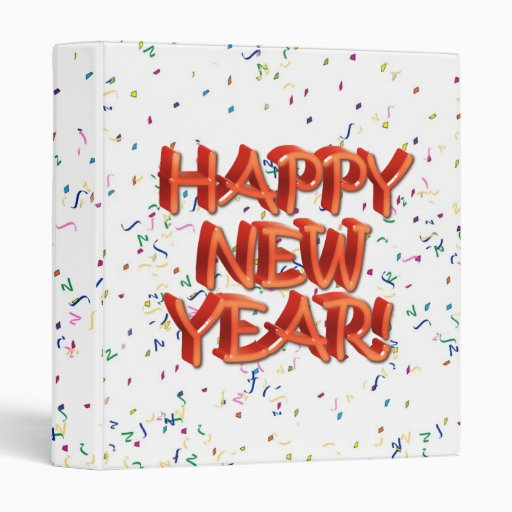 Happy New Year Glassy Red Text 3 Ring Binders