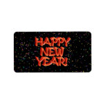 Happy New Year Glassy Red Text Address Label