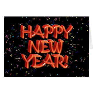 Happy New Year Glassy Red Text Card