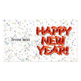 Happy New Year Glassy Red Text Double-Sided Standard Business Cards (Pack Of 100)