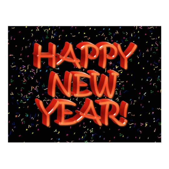 Happy New Year Glassy Red Text Postcard