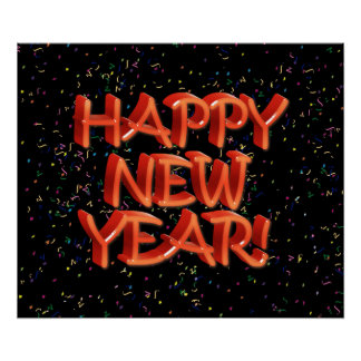 Happy New Year Glassy Red Text Poster