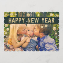 Happy New Year Gold Black | Holiday Photo Card