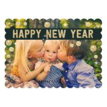 Happy New Year Gold Black | Holiday Photo Card