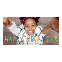 Happy New Year Gold Faux Foil w/ Aqua | New Year Card