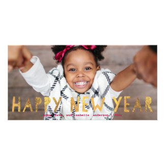 Happy New Year Gold Faux Foil w/ Pink | New Year Card