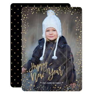 Happy New Year | Gold | Glitter Dots | Photo Card