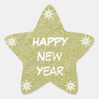 Happy New Year Gold Glitter Star Sticker Stars