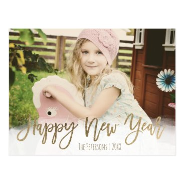 girly_trend Happy New Year gold modern typography custom photo Postcard