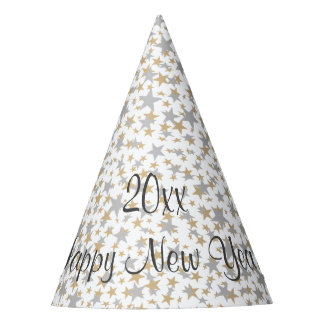 Happy New Year Gold Silver Glitter Stars Party Hat