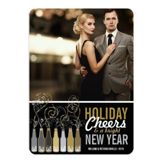 Happy New Year Gold Silver Holiday Bubbly Bottles Personalized Invites