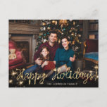 """Happy New Year Gold Sparkle Script PHOTO Greeting Postcard<br><div class=""""desc"""">Merry Christmas Gold Sparkle Script PHOTO Greeting Postcard.</div>"""