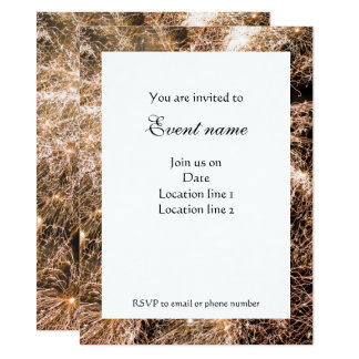 Happy New Year Gold sparkly fireworks Invitation