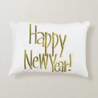 Happy New Year - Gold Text (Add Background Color) Decorative Pillow